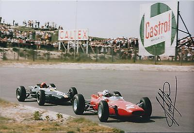 John SURTEES SIGNED Castrol FERRARI F1 12x8 Photo AFTAL Autograph COA Genuine