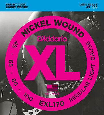 D'Addario EXL170 Nickel Electric Bass Strings Regular Light 45-100  - New