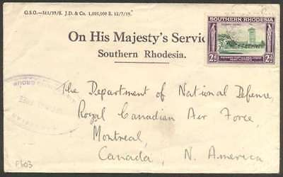 British Southern Rhodesia To Canada Cover 1940 w 1 Stamp