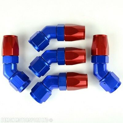AN -8 Forged 45 Degree Hose Fitting (5 Pack) Red and Blue 8AN AN8 -8