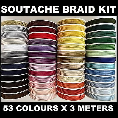 Soutache (Russia) braid package 53 colours x 3meters 100% Viscose- Great Value!
