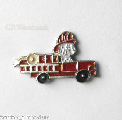 FIRE FIGHTER DOG FIRE TRUCK LAPEL PIN BADGE 3/4 INCH