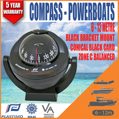 Plastimo Offshore BOAT MARINE Compass RWB8028 Black Bracket Mount Conical Card