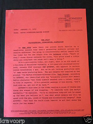 The Cult—1992 Press Release