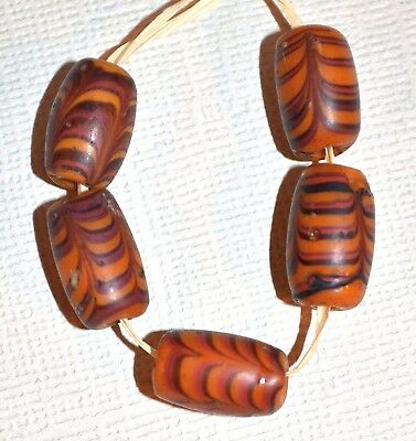 Antique Venetian Tanish Brown Combed Feather Italian Glass Beads, African Trade