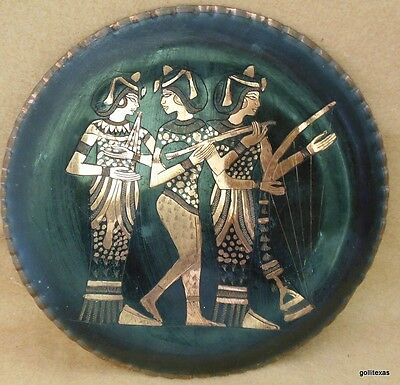 Vintage Copper and Black Incised Plate Egypt Three  Women Music 8""