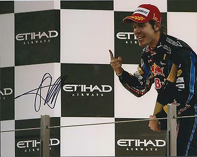 Sebastian Vettel HAND SIGNED F1 Podium 10x8 Photo Red Bull AFTAL Autograph COA