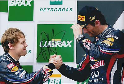 Sebastian VETTEL SIGNED with WEBBER 12x8 Photo Red Bull AFTAL Autograph COA