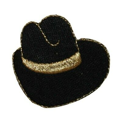 383be203f1381 ID 7606 Black Cowboy Hat Patch Western Ten Gallon Embroidered Iron On  Applique