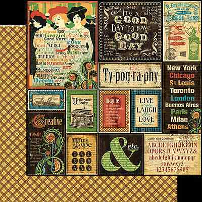 Graphic45 TYPOGRAPHY 12x12 Dbl-Sided Scrapbooking (2pc) Paper VINTAGE