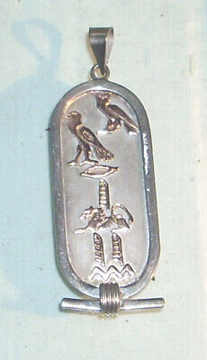 Vintage Egyptian Sterling Silver Hallmarked Pendant with Gold Hieroglyphics