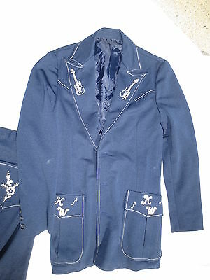 retro 70s country western singer polyester pantsuit w embroider guitars costume