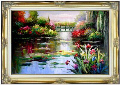 Framed, Monet Garden at Giverny Repro VII, Hand Painted Oil Painting 24x36in