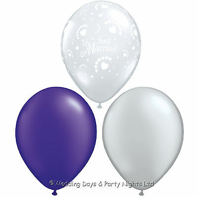 30 Just Married Helium Balloons Clear Purple & Silver Wedding Party Decorations