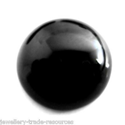 5mm NATURAL BLACK ROUND ONYX CABOCHON CUT GEM GEMSTONE