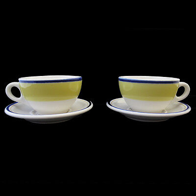 Syracuse Cups And Saucers White With Yellow Edge And Blue Ring Two Sets