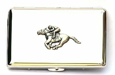 Horse Racing Design Cigarette Tin Gift Boxed Free engraving