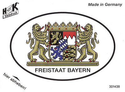 Aufkleber Fun Auto Applikation Sticker oval 11,6 x 8 cm Freistaat Bayern 301438