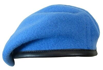 100% Wool BRITISH BERET - All Sizes UNITED NATIONS Light Blue UN Army Cap Hat