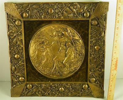 ANTIQUE VICTORIAN ORNATE BRONZE FRAME PLAQUE ADAM & EVE  EXPULSION 17'' x 17''