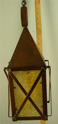 Arts & Crafts Lantern Fixture Light Copper Opaline Caramel Slag Glass