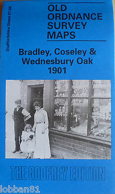 Old Ordnance Survey Maps Bradley Coseley & Wednesbury Oak 1901 Godfrey Edition