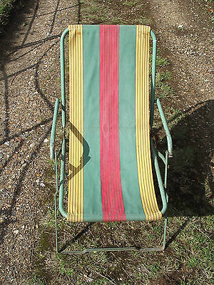 A Lovely Vintage Industrial Metal Folding Deck Chair / Picnic Chair Vw Campervan