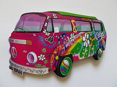 Funky Love & Peace Pink Vw Camper Van Jumbo Size Fridge Magnet.new