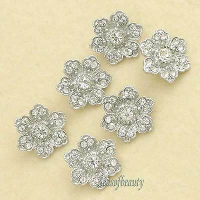 12 X Charming Clear Rhinestone Flower Buttons Silver Tone Sewing Costume Craft