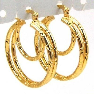 3pair Wholesale REAL EMPAISTIC 3 RING 18K YELLOW GOLD GP HOOP EARRING SOLID FILL