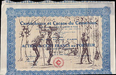 Africa Cameroon 1926 Rubber Cocoas Caoutchoucs Cacaos 100f Uncancelled coup Deco