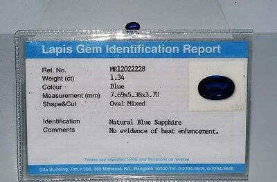 $2,150 1.34Ct Lapis Gem Certified Natural No Heat Loose Blue Sapphire Gemstone