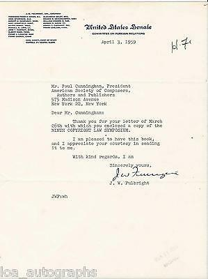 J.W. Fulbright REAL hand SIGNED Senate Foreign Relations letter ALS Senator 1959