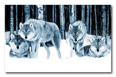 Wolf Pack QUALITY Canvas Art Print Poster - 12x8""