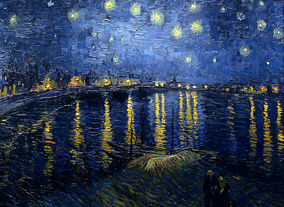 "VINCENT VAN GOGH - Starry Night over the Rhone - Canvas Art Print - 12x8"" Size"