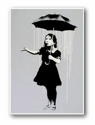 BANKSY NOLA-Girl Umbrella Raining New Orleans-QUALITY CANVAS PRINT Poster 12x8""