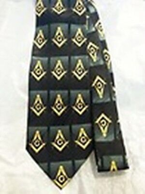Masonic Freemason Black w/yellow S&C Necktie NEW, Visit our store for MORE /G