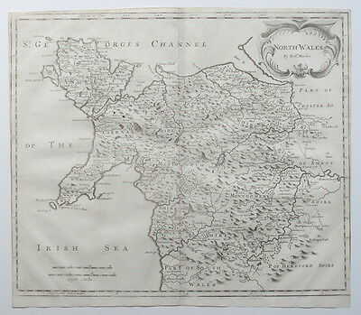 North Wales Anglesey1695 Robert Morden Genuine Antique Map Camden's Britannia