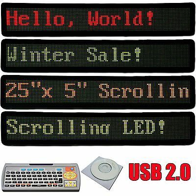 """25x5"""" Programmable Scrolling LED Sign Store Display Message Board 3 color light"""