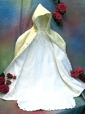 Rare ANTIQUE Victorian Edwardian BABY BUNTING embroidery SILK hood DOLL CLOTHES