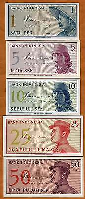 Indonesia Complete Fractional Set 1;5;10;25;50 1964 UNC