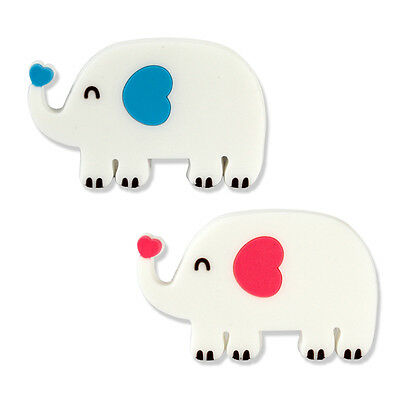 2x Cute Elephant Earphone Headphone Cable Cord Wrap Rubber Pink Blue White
