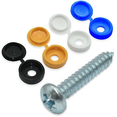 8 Pk Coloured Caps & 8 Pk Screws Car Number Plate Fixing Fitting Kit