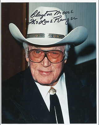"10""x8"" PHOTO PRINTED AUTOGRAPH - CLAYTON MOORE a"