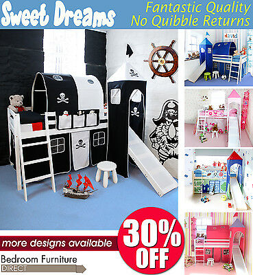 Midsleeper Bed, Cabin Bed with slide and accessories, choice of colour, BARGAIN
