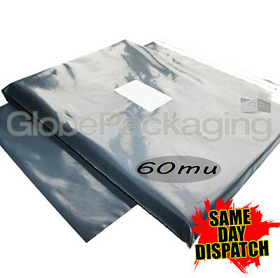 """15 x Grey STRONG Postal Mailing Bags 14x21"""" - 350x525mm"""