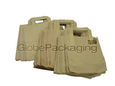 "25 SMALL BROWN KRAFT PAPER SOS CARRIER BAGS 7"" x 3.5"" x 8.5"""