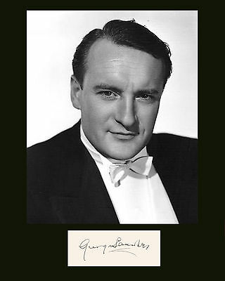"10""x8"" PHOTO PRINTED AUTOGRAPH - GEORGE SANDERS a"
