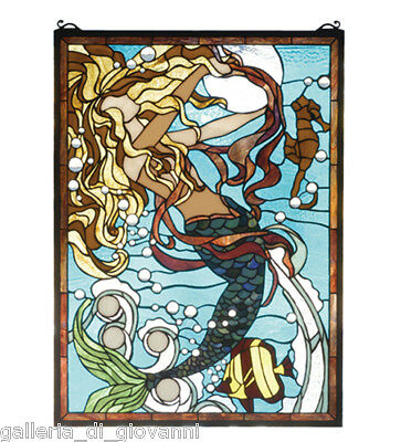 Underwater Goddess Stained Glass Window Mermaid