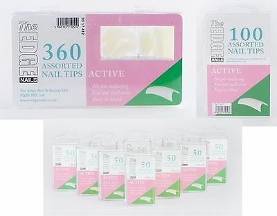 The Edge Active Natural Half Well Nail Tips Box Of 360, 100 Or Refil Packs